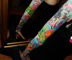 colourful, lovely, and sleeve tattoo image