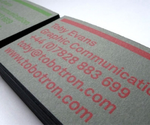 Toby Evans screen printed business cards | Gentle Pure Space
