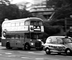 black and white, bus, and london image