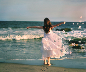 girl, sea, and butterfly image