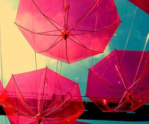 umbrella, pink, and sky image