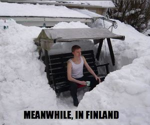 finland, snow, and funny image