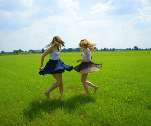 countryside, happy, and skirts image