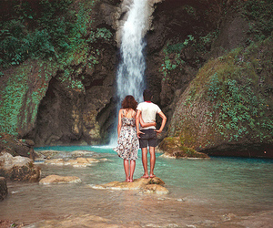 waterfall, couple, and boy image