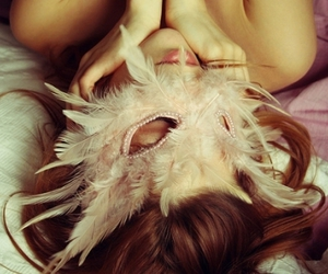 feathers, girl, and mask image
