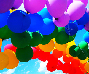 balloons, colors, and rainbow image