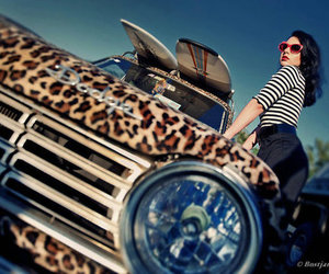 girl, car, and leopard image