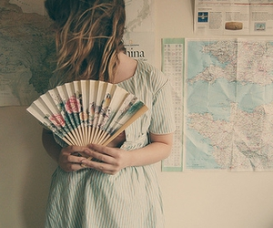 girl, map, and fan image