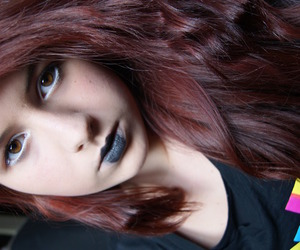 black lipstick, dyed hair, and fashion image
