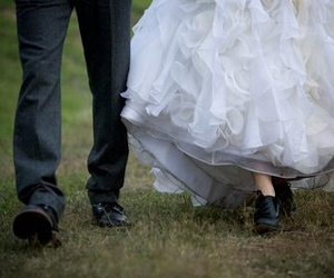 bride and groom, wedding, and oxford heels image