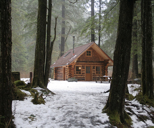 house, snow, and cabin image