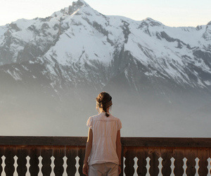 mountains, girl, and snow image