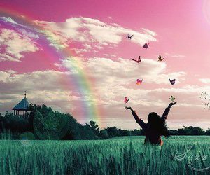 girl, rainbow, and butterfly image