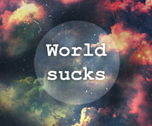 world, text, and galaxy image