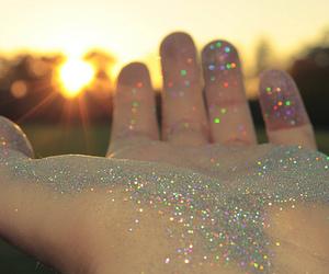 glitter, hand, and sun image