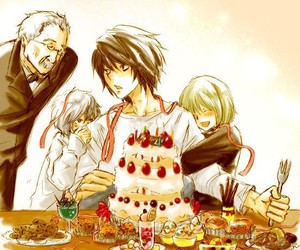 near, L, and death note image