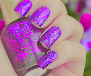 nails, purple, and glitter image