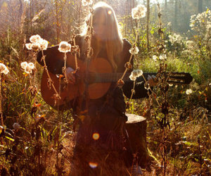 guitar, flowers, and hippie image