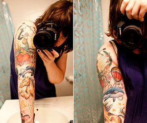 tattoo, camera, and girl image