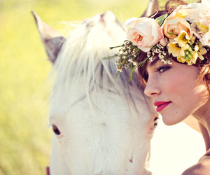 flowers, animal, and bride image
