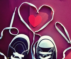 converse, hearts, and magenta image