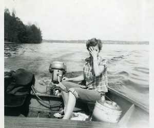 black and white, boat, and girl image