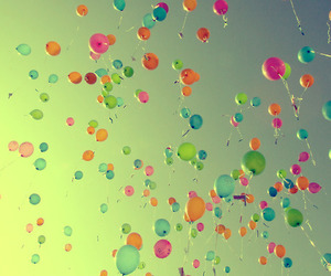 balloons, sky, and Dream image