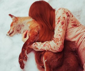 fox, girl, and snow image