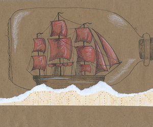 boat, bottle, and drawing image