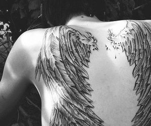 angel, back, and black and white image