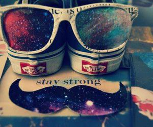 vans, mustache, and galaxy image