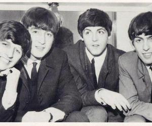 the beatles and black and white image