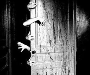 hands, door, and black and white image