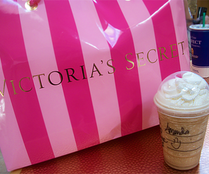 Victoria's Secret, starbucks, and pink image
