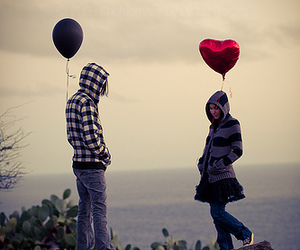 love, couple, and balloon image