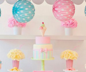 cake, pastel, and flowers image