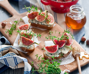 food, fig, and honey image