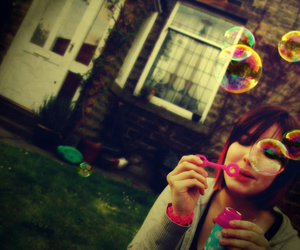 bubbles, girl, and cute image