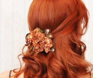 hair, red hair, and flowers image
