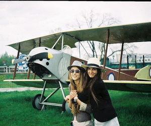 airplane, blond, and girls image