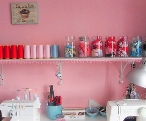 crafts, pink, and sewing image