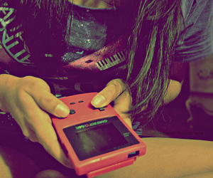 girl, gameboy, and game image