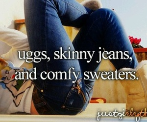 uggs, sweater, and jeans image