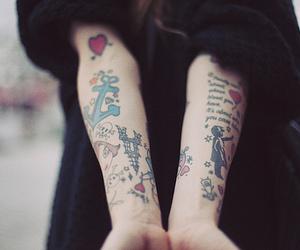 arm tattoo, heart, and tattoo image