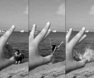 beach, black and white, and funny image