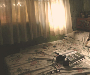 bed, camera, and bedroom image