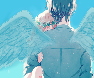 angel, blonde, and embrace image
