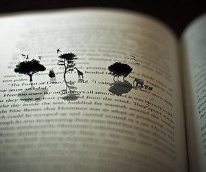book, tree, and animal image