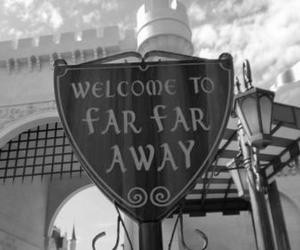 far far away, black and white, and shrek image