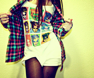 girl, fashion, and shirt image